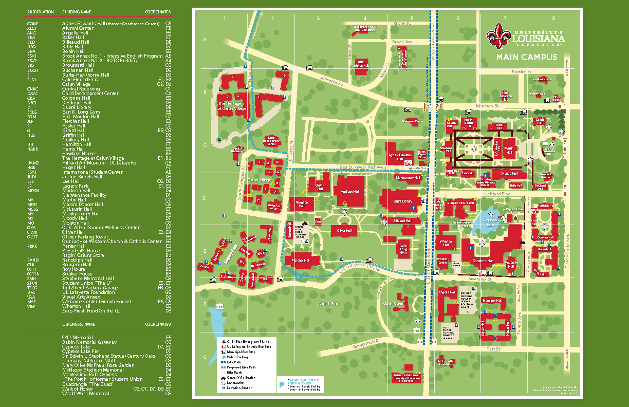 ul lafayette campus map Campus Maps University Of Louisiana At Lafayette ul lafayette campus map