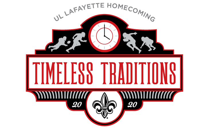 UL Lafayette Homecoming graphic with the words Timeless Traditions