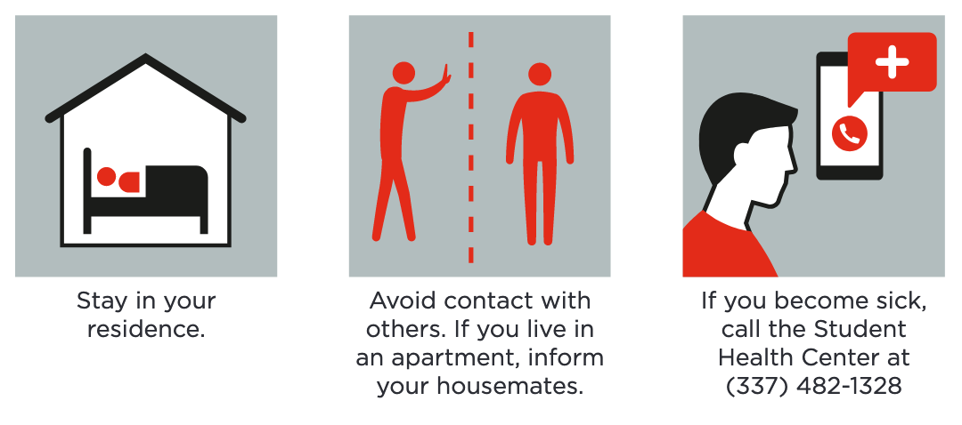 Stay in your residence. Avoid contact with others. Inform roommates. Call Student Health Center at 337-482-1328.