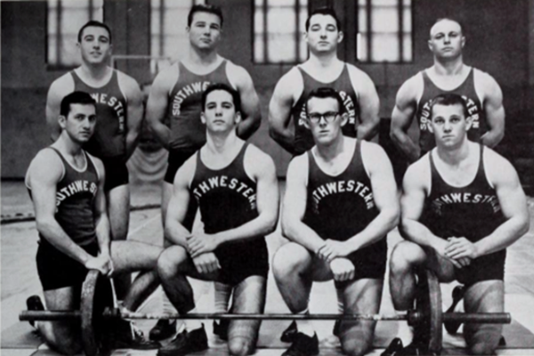 The USL (now UL Lafayette) weightlifting team captured its second national championship in 1963. Its members included, kneeling, Dickie Fleming, Dave Fabacher, Malcolm Stagg and Pat Stuart. Standing were Gene Hebert, Alvin Chustz, Weldon Major and Jesse Shows. Photo from the 1964 L'Acadien yearbook.