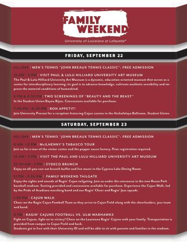 UL Lafayette Ragin' Cajuns family weekend schedule 2017