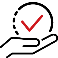Icon for the self-check questionnaire with a hand underneath a check mark