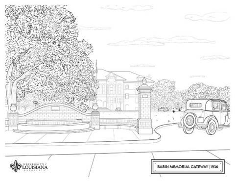 Coloring sheet of UL Lafayette's old martin hall and gateway entrance