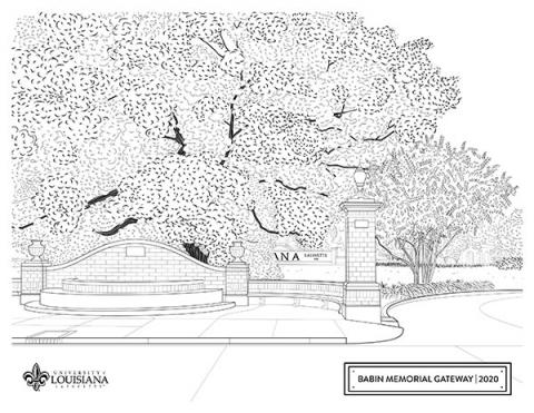 Coloring sheet of UL Lafayette's babin memorial gateway