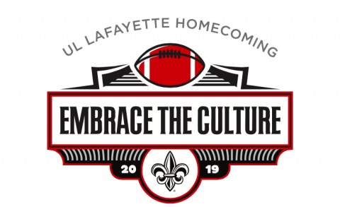 UL Lafayette Homecoming graphic with Embrace the Culture