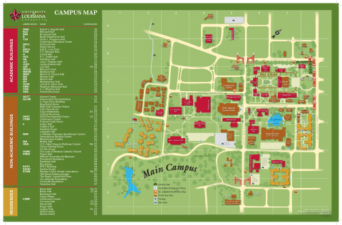 UL Lafayette Campus Map  University of Louisiana at Lafayette