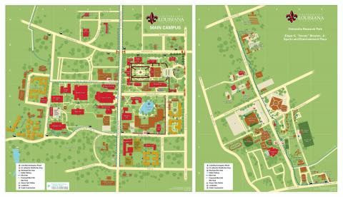 photo regarding Printable Map of Louisiana named Campus Maps College or university of Louisiana at Lafayette