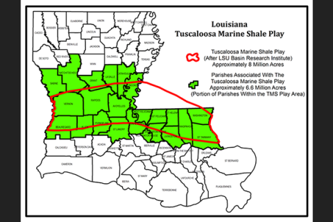 LA Tuscaloosa Marine Shale Play Map