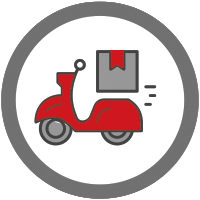 icon of a moped with a package