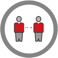 icon of two people standing apart to signal social distancing