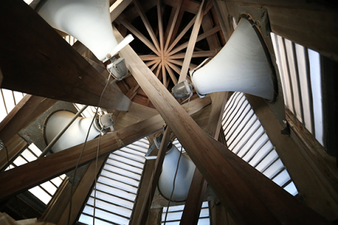 Photo of the speakers inside Stephens Hall bell tower