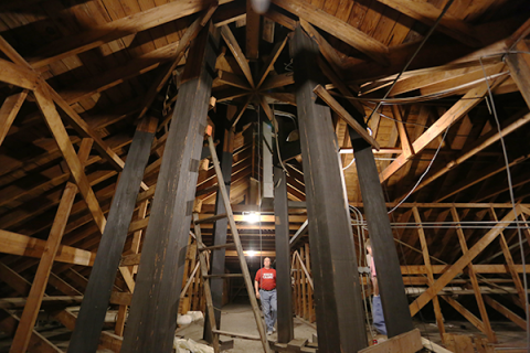 Photo of interior scaffolding of Stephens Hall bell tower