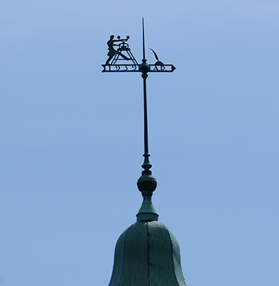 Photo of the weathervane on top of Stephens Hall