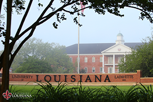 desktop wallpaper of Louisiana Welcome Wall in the fog